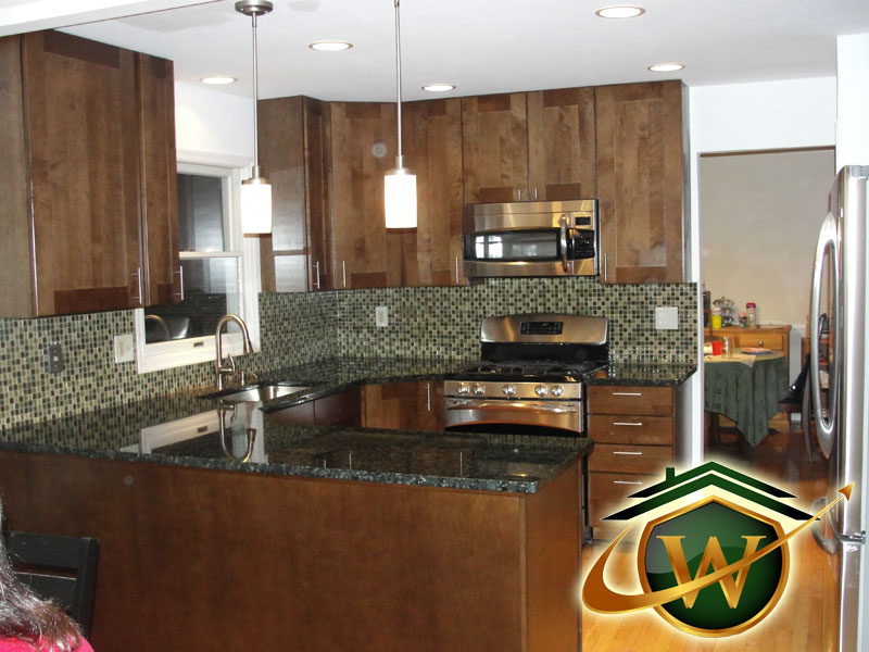 Kitchen Remodel - Wooden Kitchen Cabinets, Granite Counter tops and Tile Backsplash