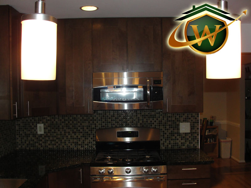 Wooden Kitchen Cabinets and Tile Backsplash