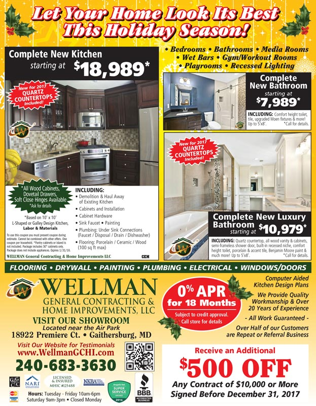 Save with coupons- Kitchen, Basement, Bathroom Remodeling- General Contractor Gaithersburg MD