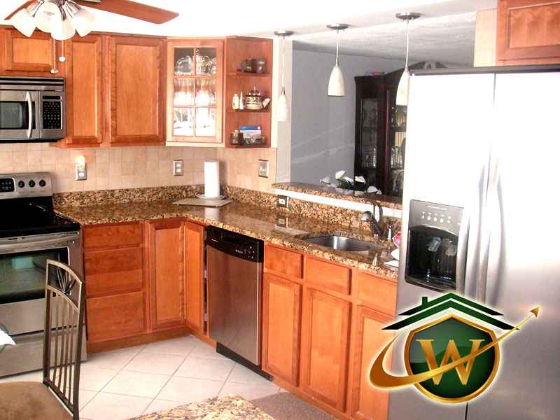 Granite Kitchen Countertop and Wooden Cabinets