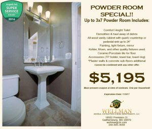 Powder Room Coupons- Kitchen, Basement, Bathroom Remodeling- General Contractor Gaithersburg MD